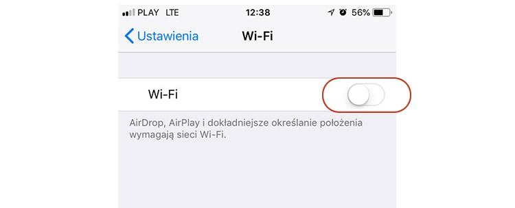 wyłączona sieć wi-fi